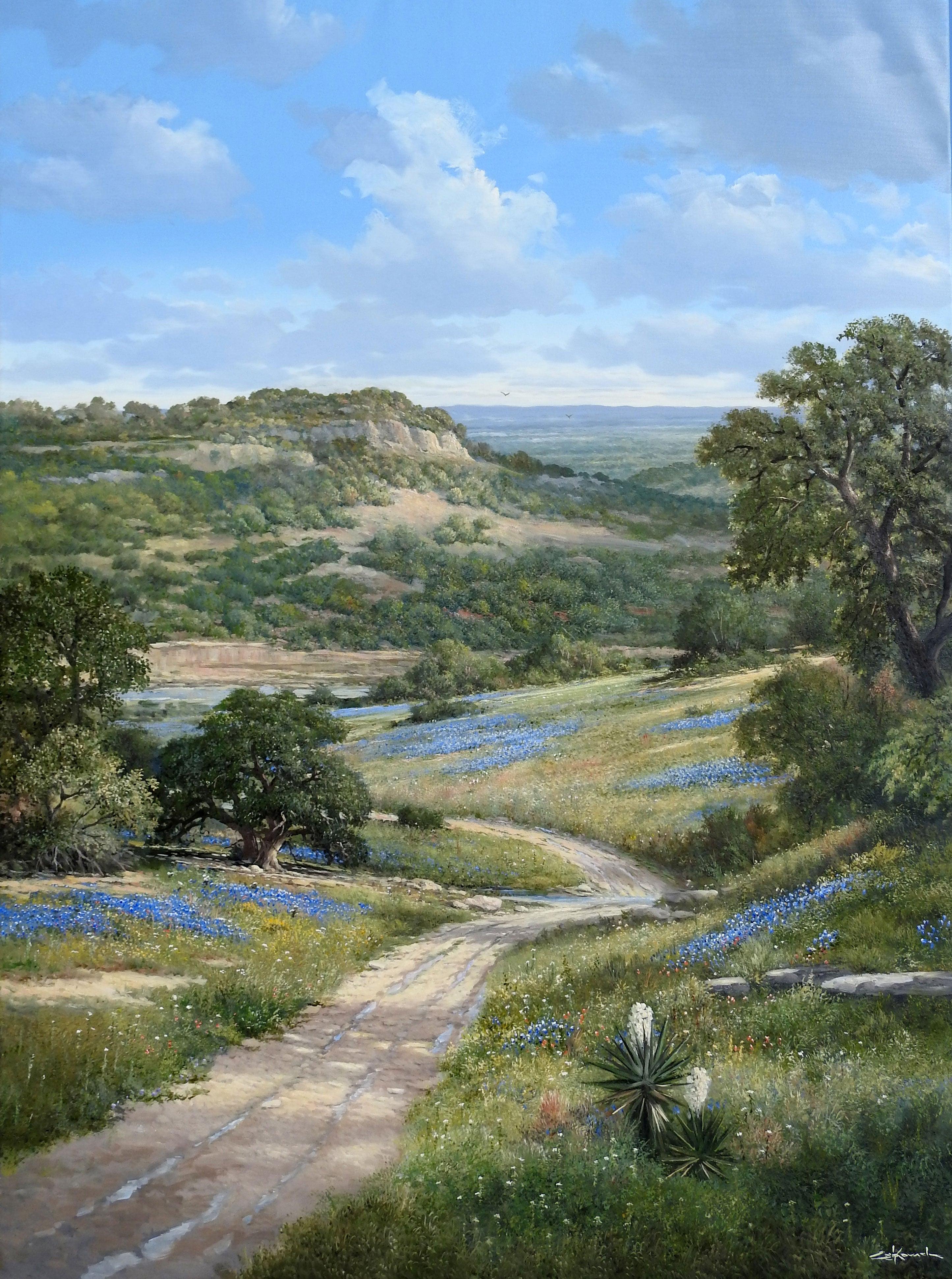 """Eagle Canyon Creek"", George Kovach, Original Realistic Texas Landscape 60x48"