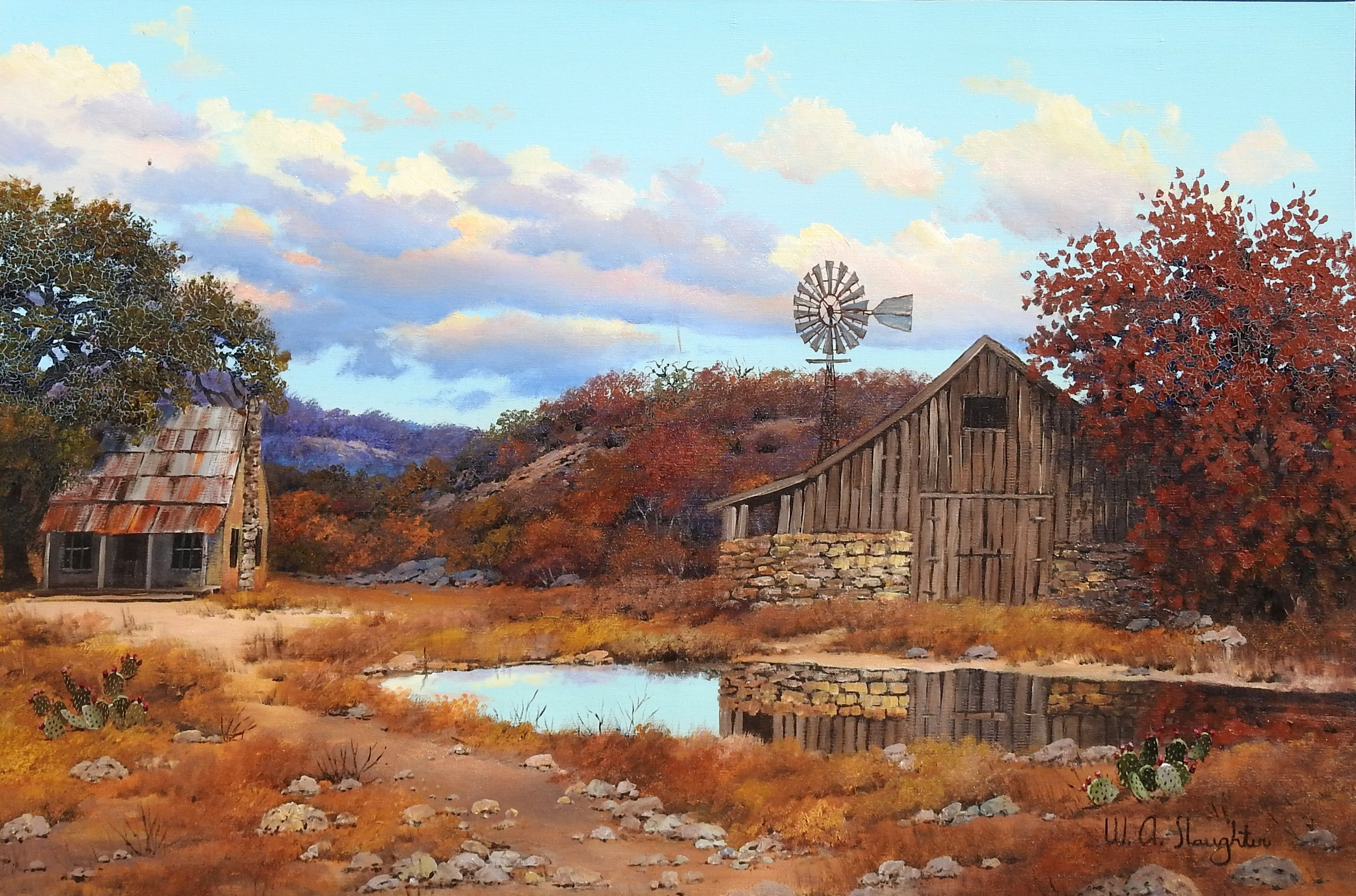 """""""Barn and Windmill"""", W.A. Slaughter, Original Landscape, Oil on Canvas, 24x36 in"""