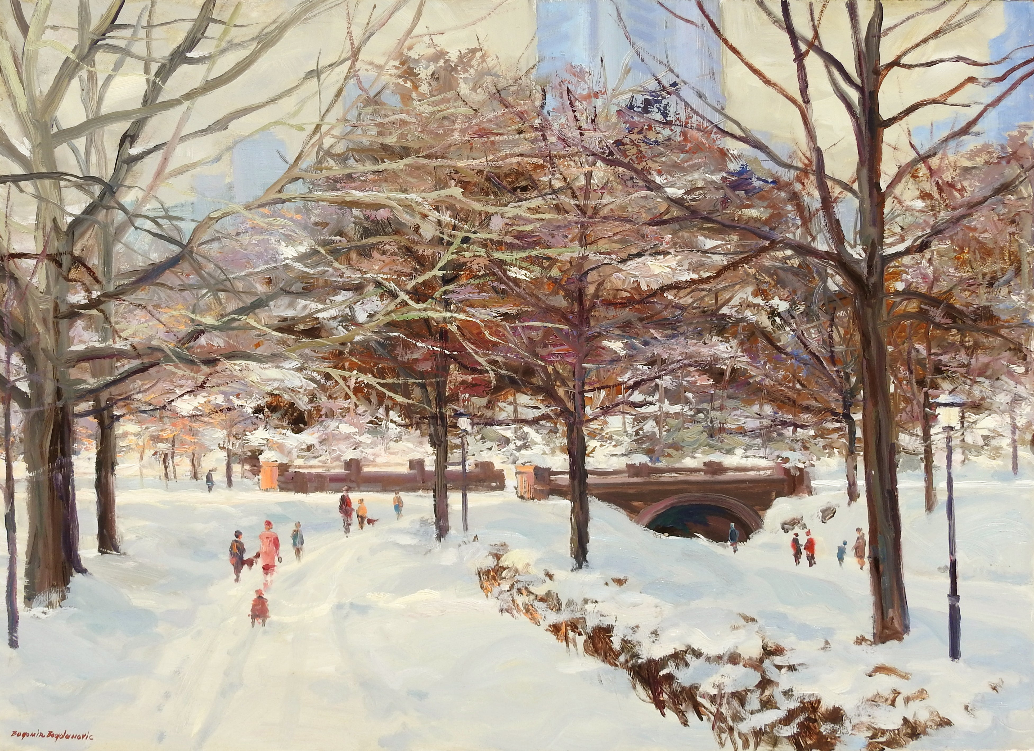 """Vicinity of Metropolitan Museum"", Bogomir Bogdanovic, Oil on Canvas, Impression"