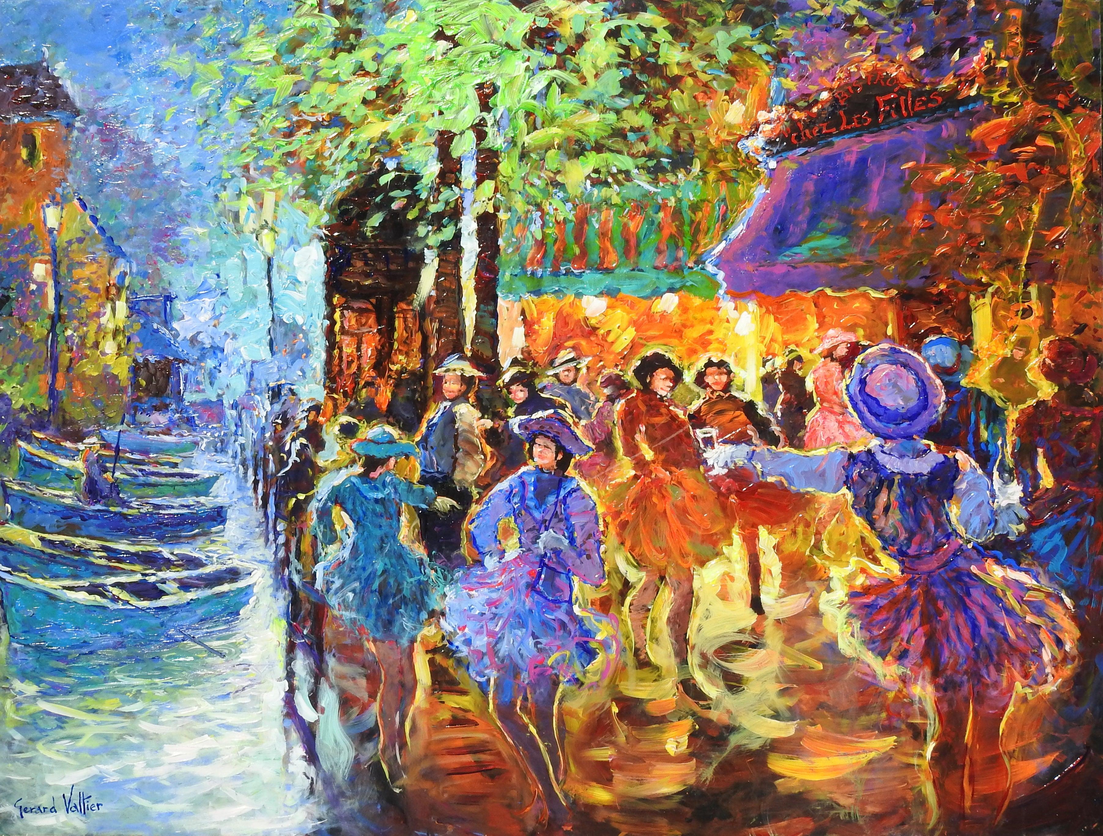 """La Place au Bistro des Filles"", Gerard Valtier, Acrylic on Board, French"