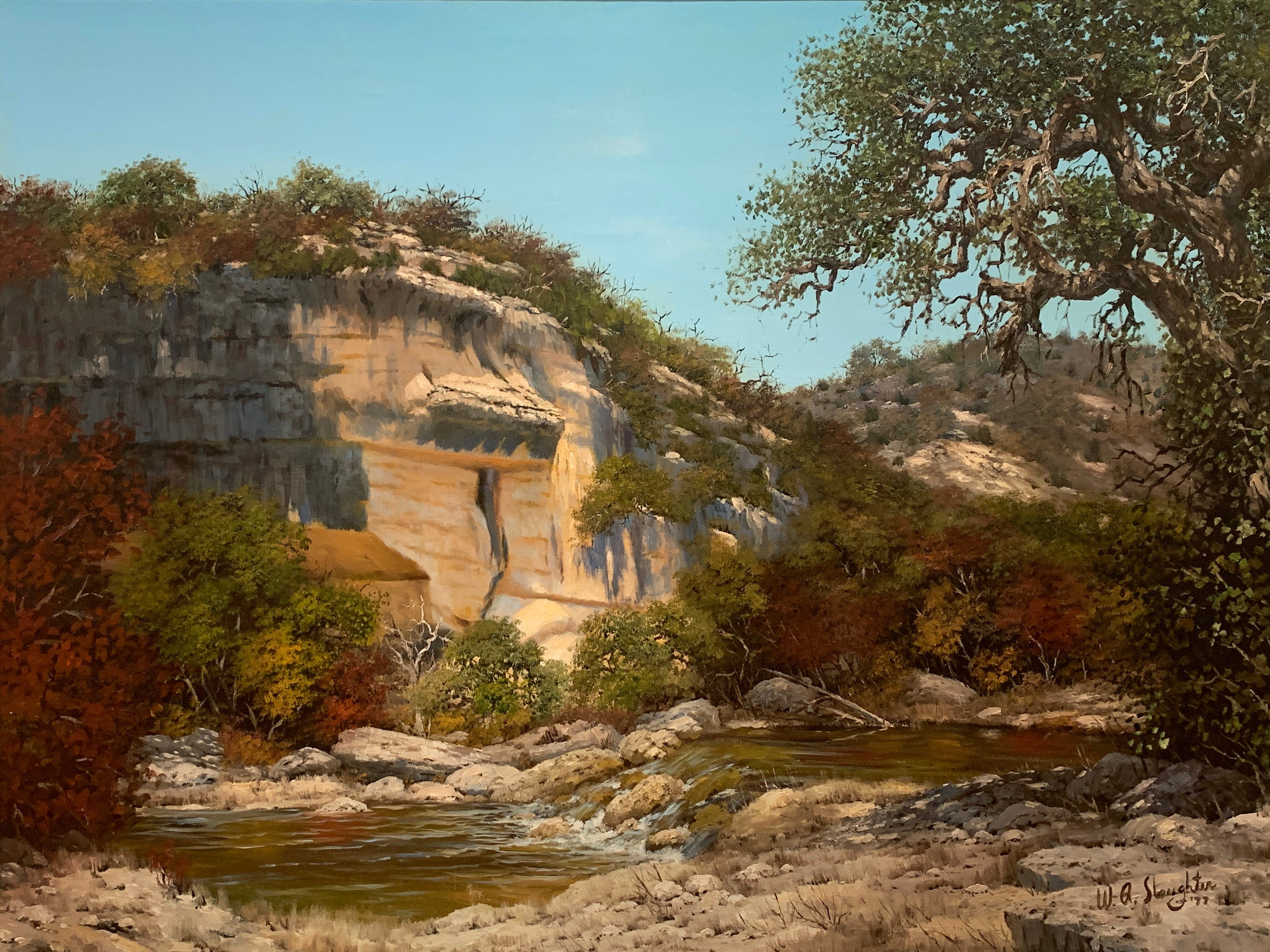"""""""Shadows in Rock Formation"""", W.A. Slaughter, Original, Oil on Canvas, 36x48 in."""