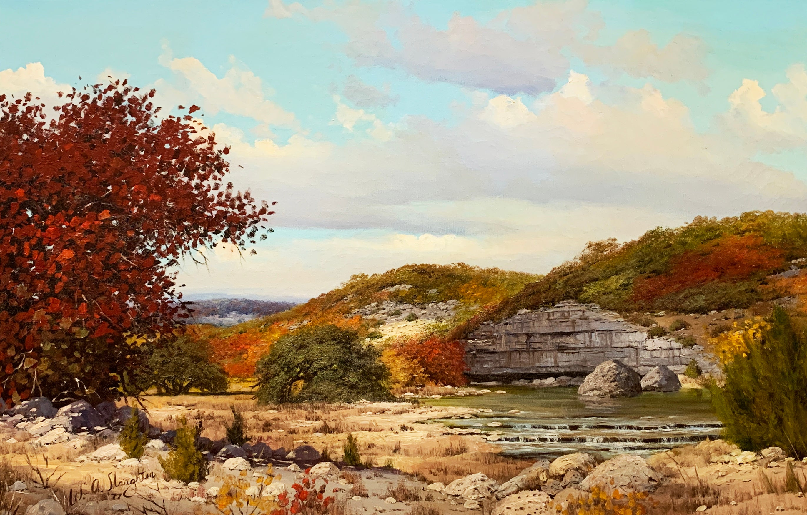 """Autumn Creek"", W.A. Slaughter, Original, Oil on Canvas, 24x36 in., Landscape"