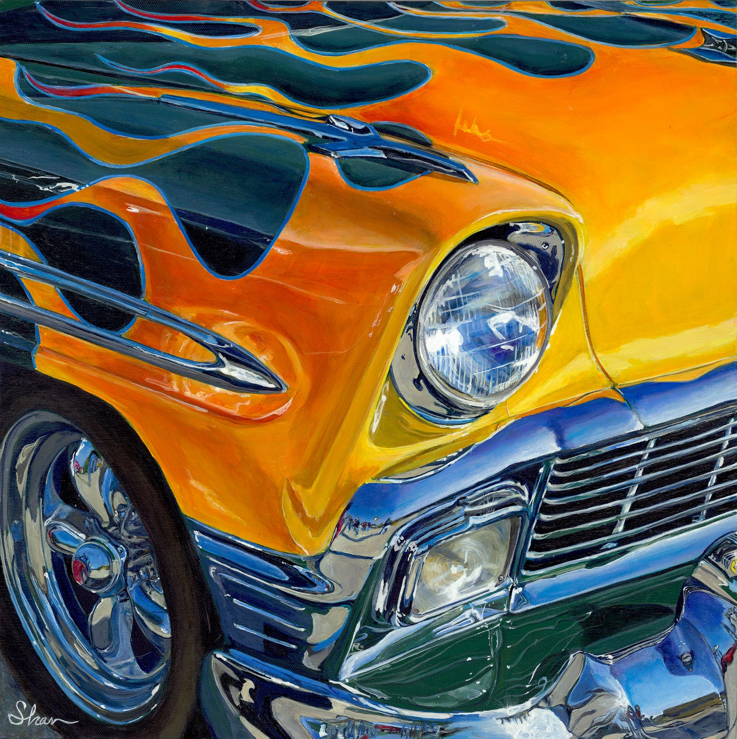 """1956 Flamin' Chevrolet Bel Air,"" Acrylic painting"