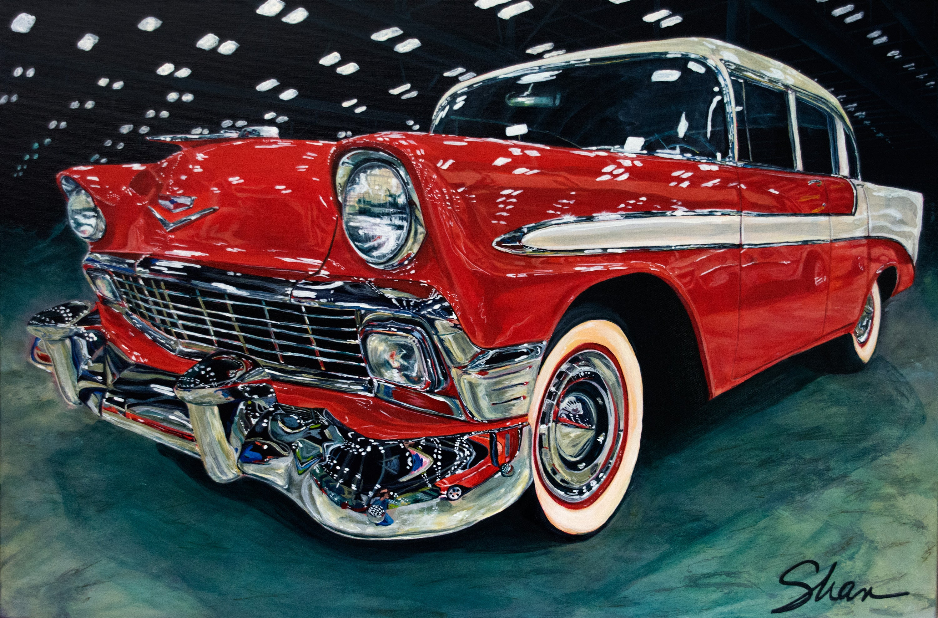 """1956 Chevrolet Bel Air,"" Acrylic painting"