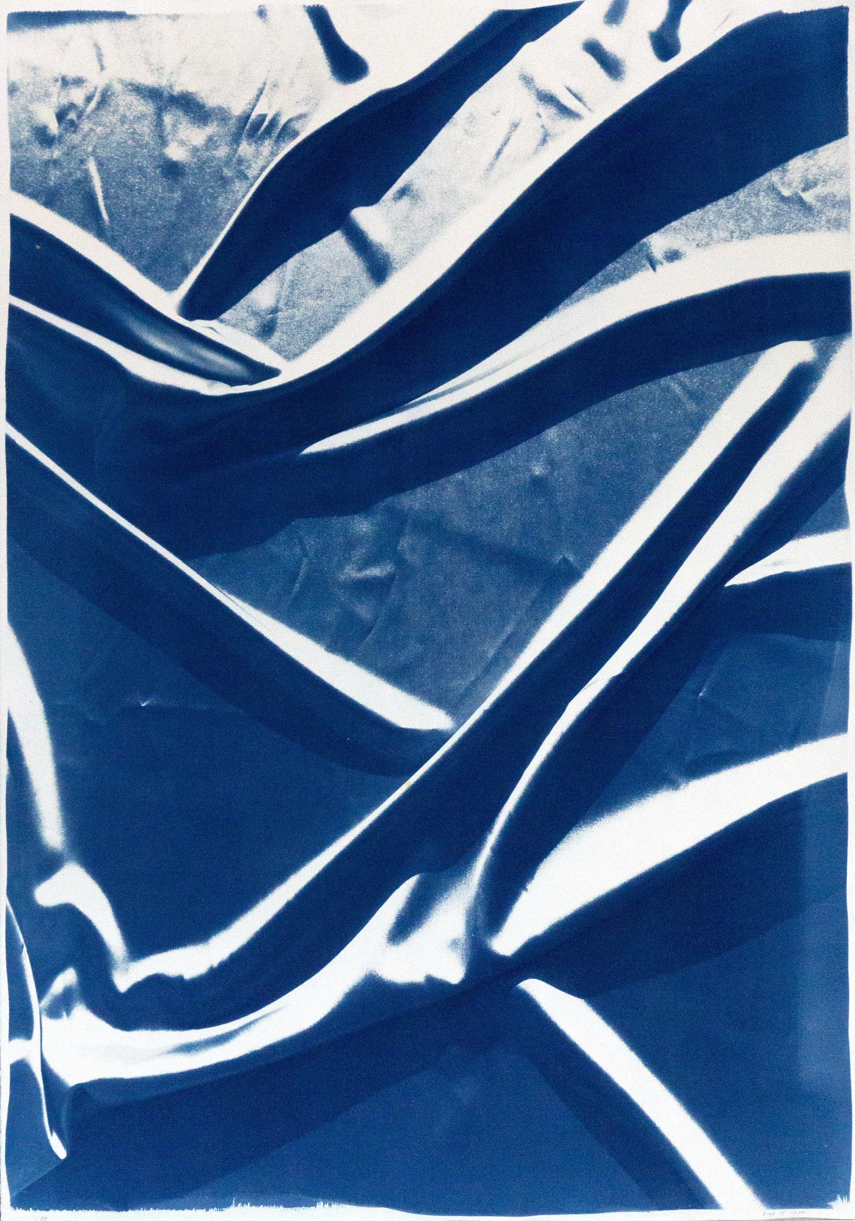 Smooth Fabric Composition, Classic Blue Silk Blueprint on Watercolor Paper