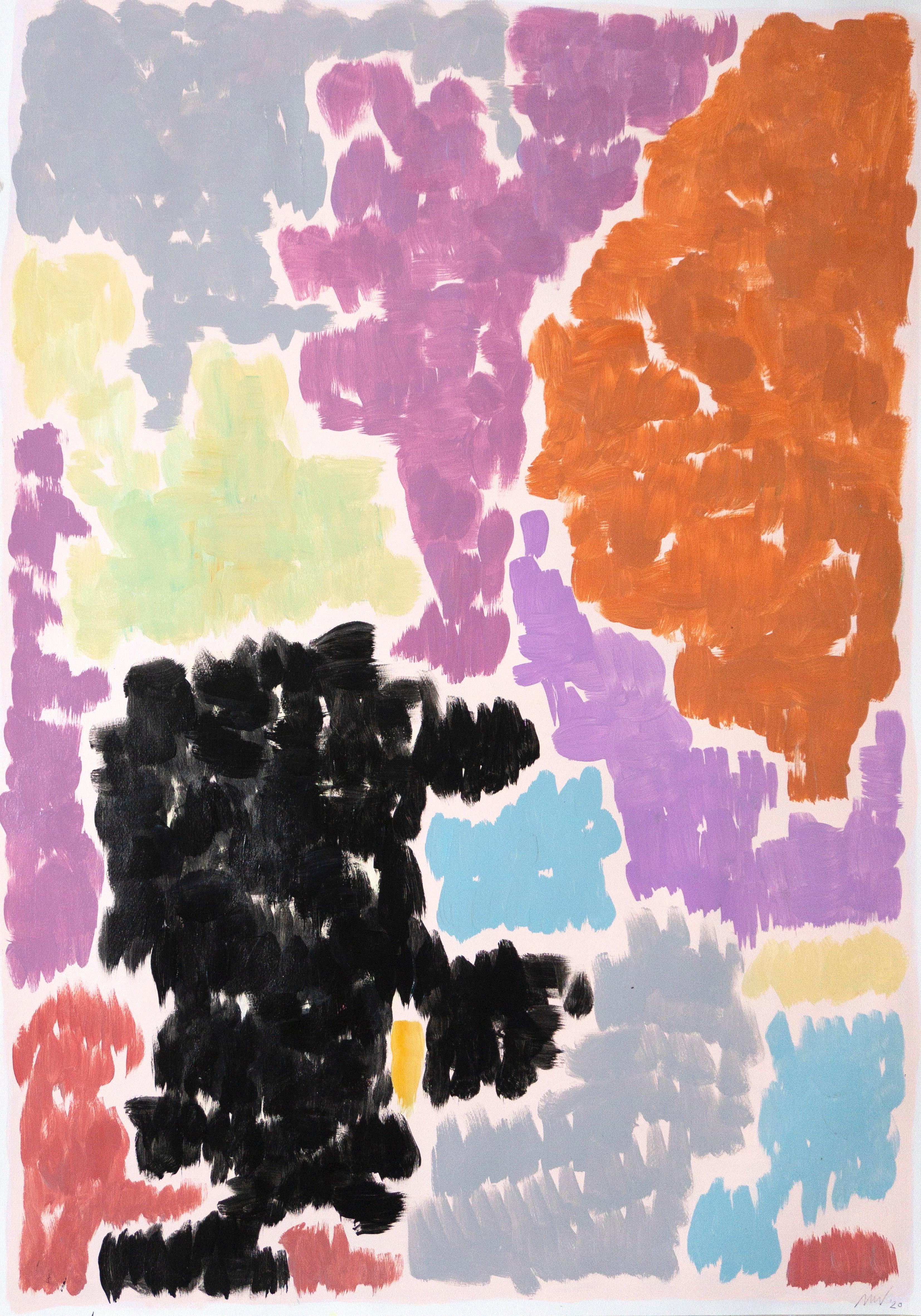 Purple Bougainvilleas, Art Deco Floral Painting in Purple Tones on Paper, 2020