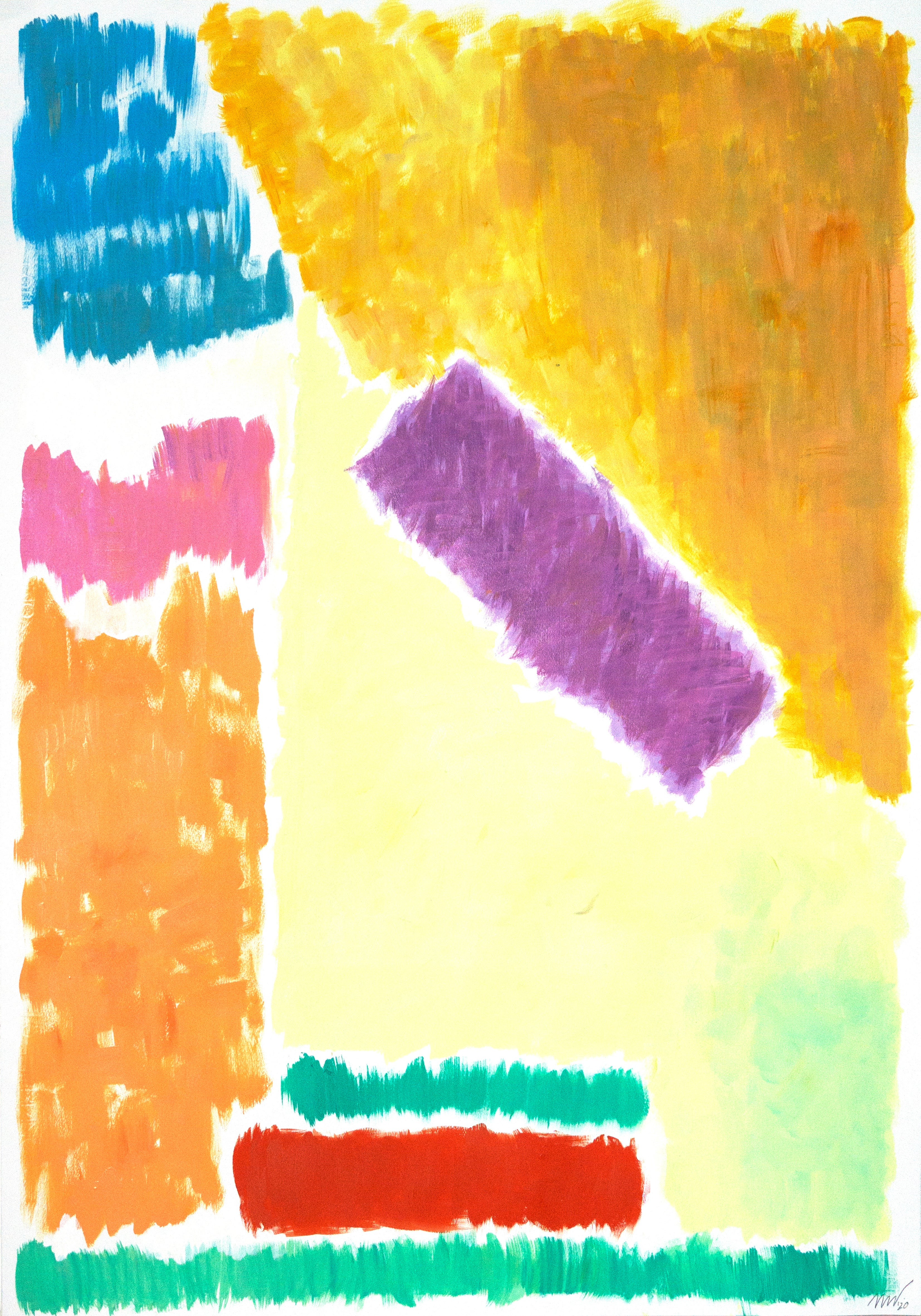 Pastel Geometric Landscape, Contemporary Painting on Paper, 70's Inspiration