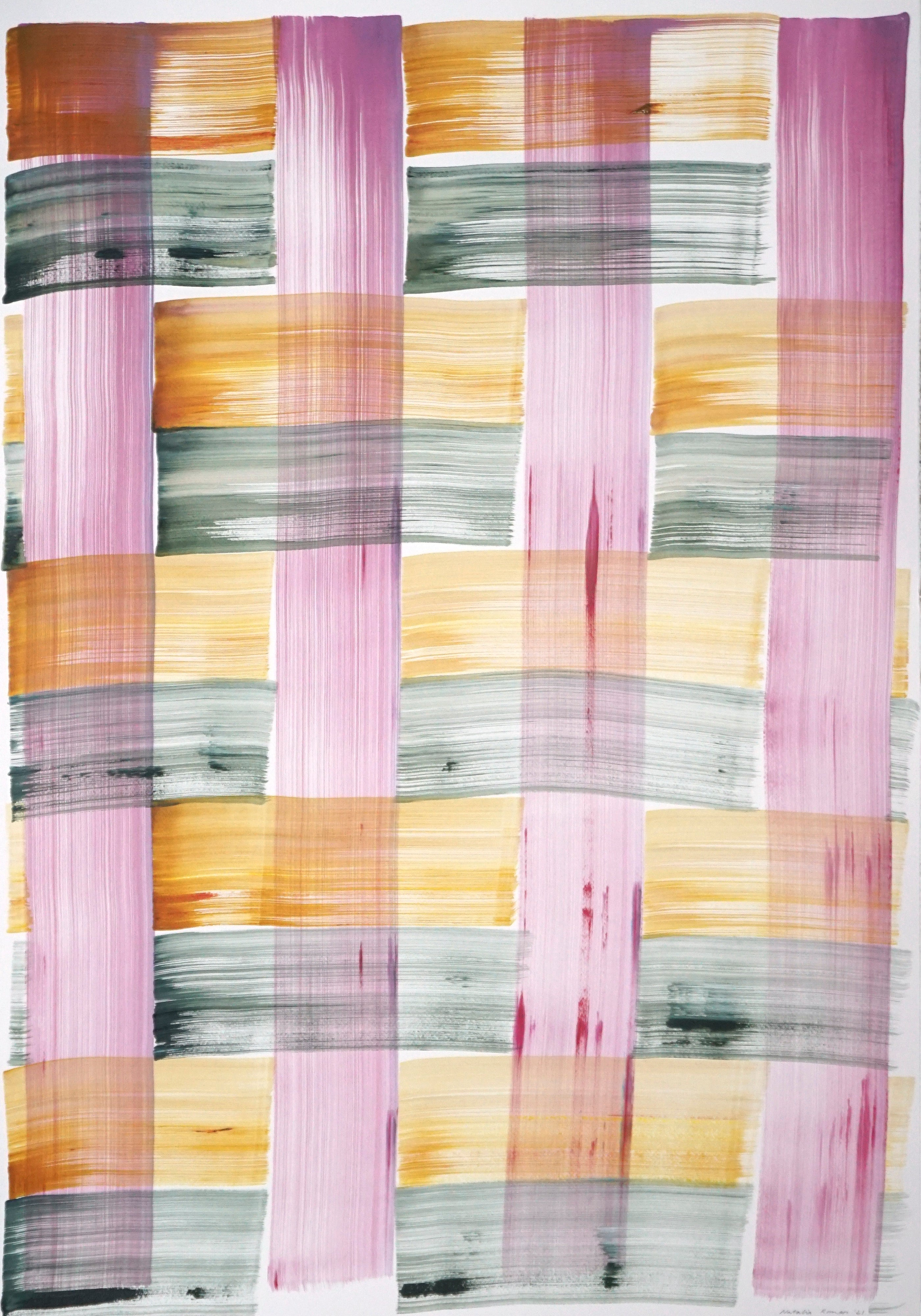 Modern Painting of Abstract Grid Warm Tones on Paper, Colorful Brushstrokes 2021