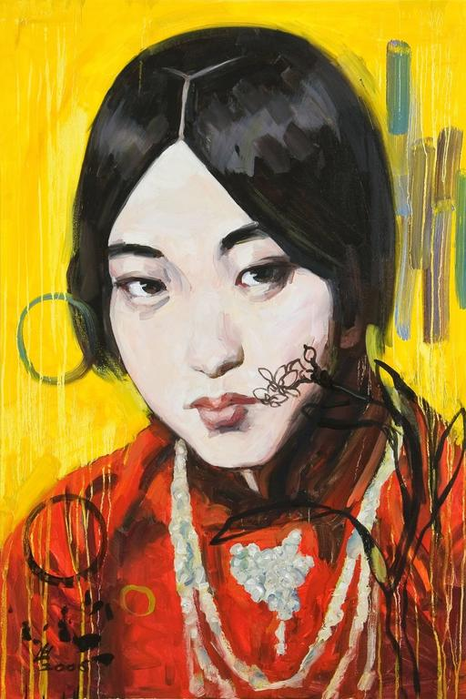 Hung Liu Figurative Painting - Narcissus IV (Yellow)