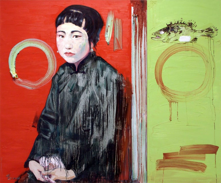 Hung Liu Figurative Painting - Summer with Cynical Fish