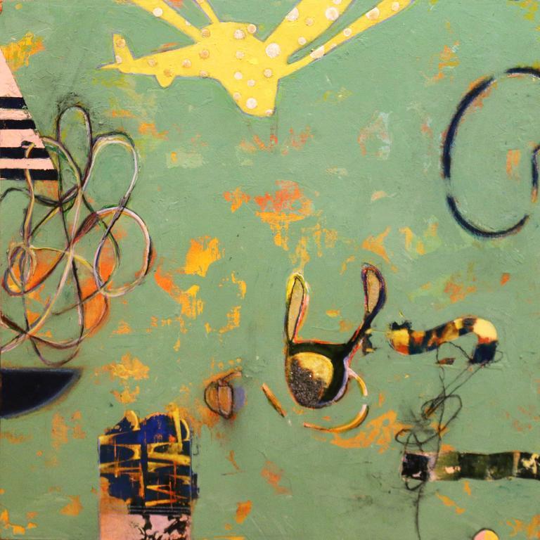 Orlando Leyba Abstract Painting - Colibri Revolotear (Hummingbird Drone)