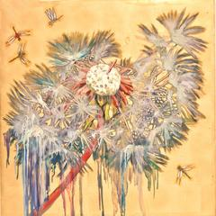 Hung Liu - Dandelion with Dragonflies
