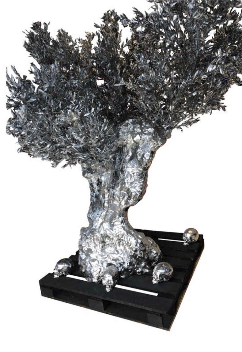 Monumental Olive Tree, Vanity-Skulls, Butterflies by Philippe Pasqua Sculpture