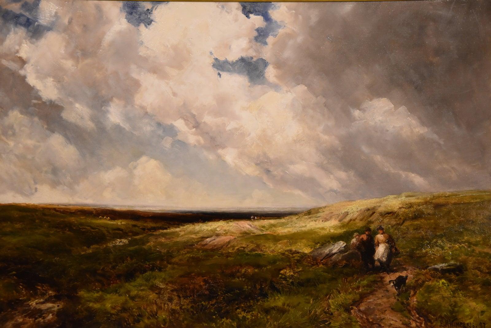 """Gathering Whortleberries, Dartmoor"" Oil Edmund Morison Wimperis"