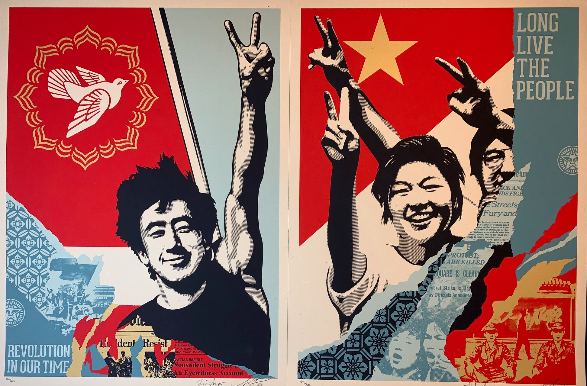 Shepard Fairey Long Live The People Collaboration with Ed Nachtrieb Diptych Set