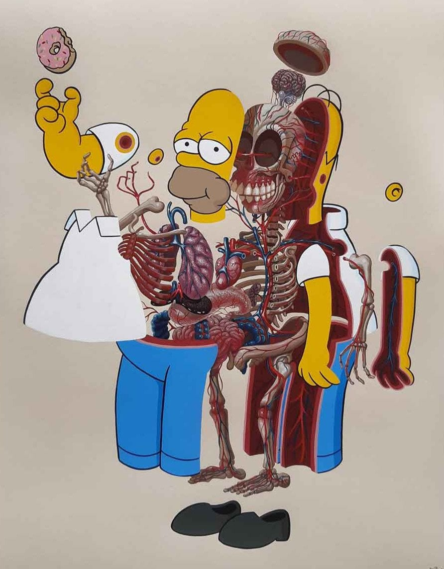 NYCHOS - Dissection of Homer Simpson Screen Print Art Urban Street The Simpsons