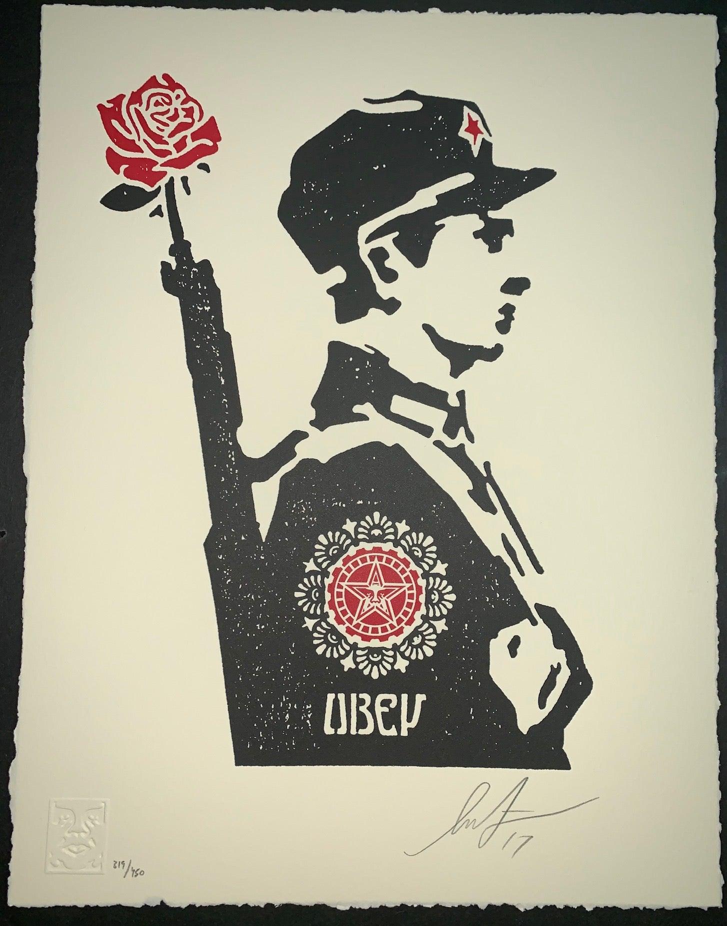 Shepard Fairey Rose Soldier Letterpress Edition 2017 Obey Giant Mint