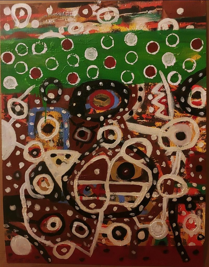 New Afrika Boogie, colorful abstraction Neo- African, oil on printed paper