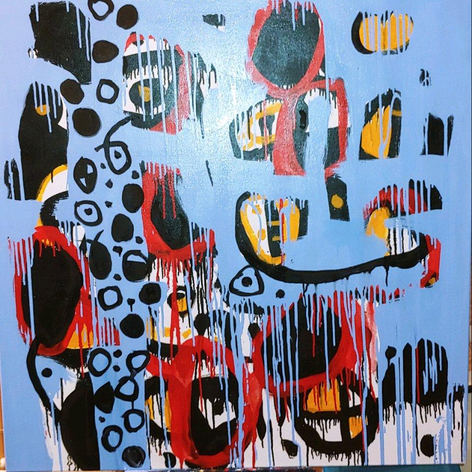 Wishful Thinking, colorful abstraction Neo- African, oil on canvas