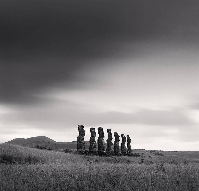 Michael Kenna Black and White Photograph - Moai, Study 49, Ahu Akivi, Easter Island. 2001