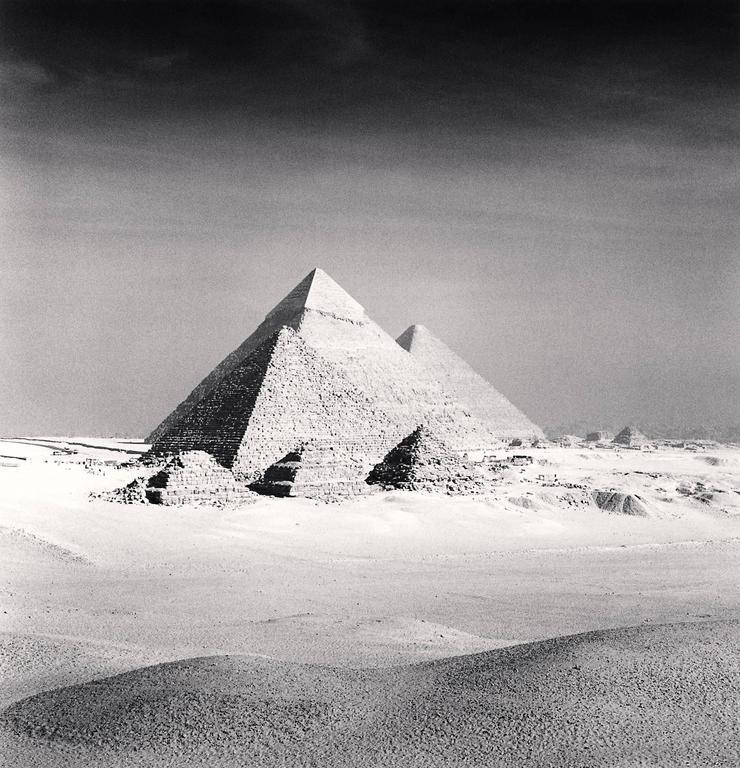 Michael Kenna Black and White Photograph - Giza Pyramids, Study 6, Cairo, 2009