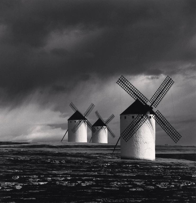 Michael Kenna Black and White Photograph - Quixote's Giants, Study 1, Campo de Criptana, Spain.