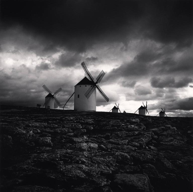 Michael Kenna Landscape Photograph - Quixote's Giants, Study 3, Campo de Criptana, La Mancha, Spain