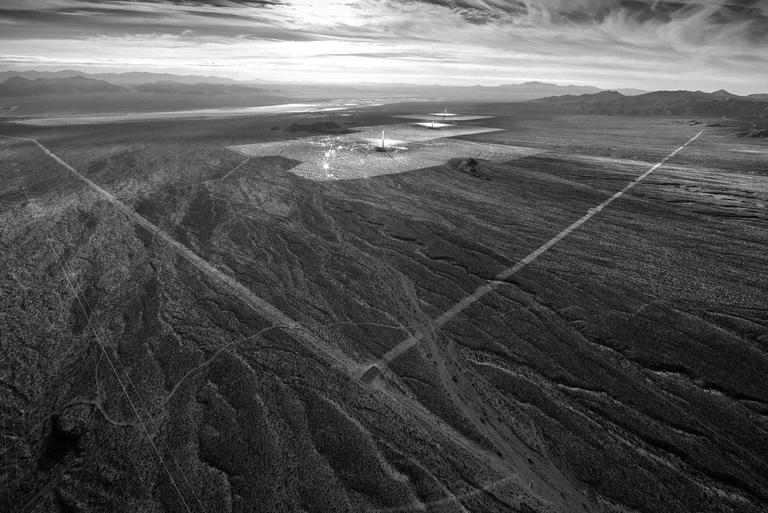Jamey Stillings Landscape Photograph - Evolution of Ivanpah Solar, #14221, 3 February 2014