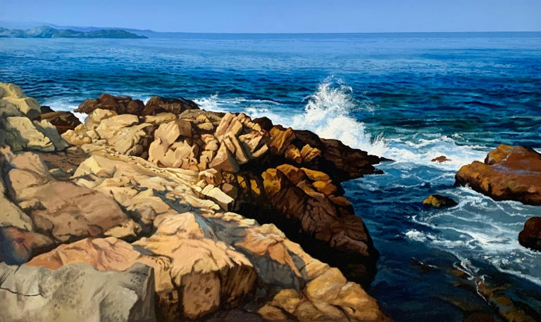 "Ian Hornak Abstract Painting - ""Lion's Head Rock (East Hampton, NY),"" Photorealism, circle of Malcolm Morley"