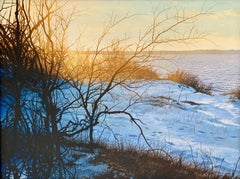 """Golden Sunrise: The Bay in Winter,"" Photorealism, circle of Malcolm Morley"