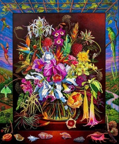 Bouquet of Tropical Flowers and Foliage