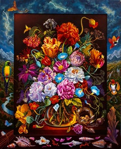 Very Baroque Flowerpiece with Red Birds of Paradise and Shining Parrot