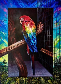 """""""Scarlet Blue Macaw,"""" Photorealism, circle of Malcolm Morley, Chuck Close"""