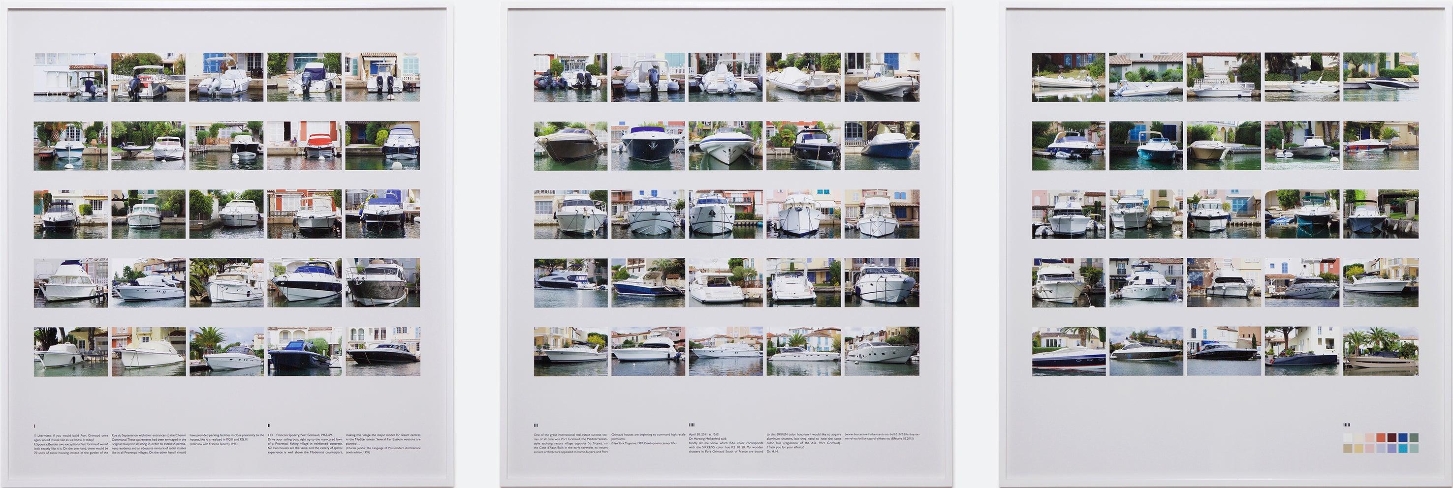 """Port Grimaud I II III"" / Color photography, boat, house, Côte d'Azur, Ed Ruscha"