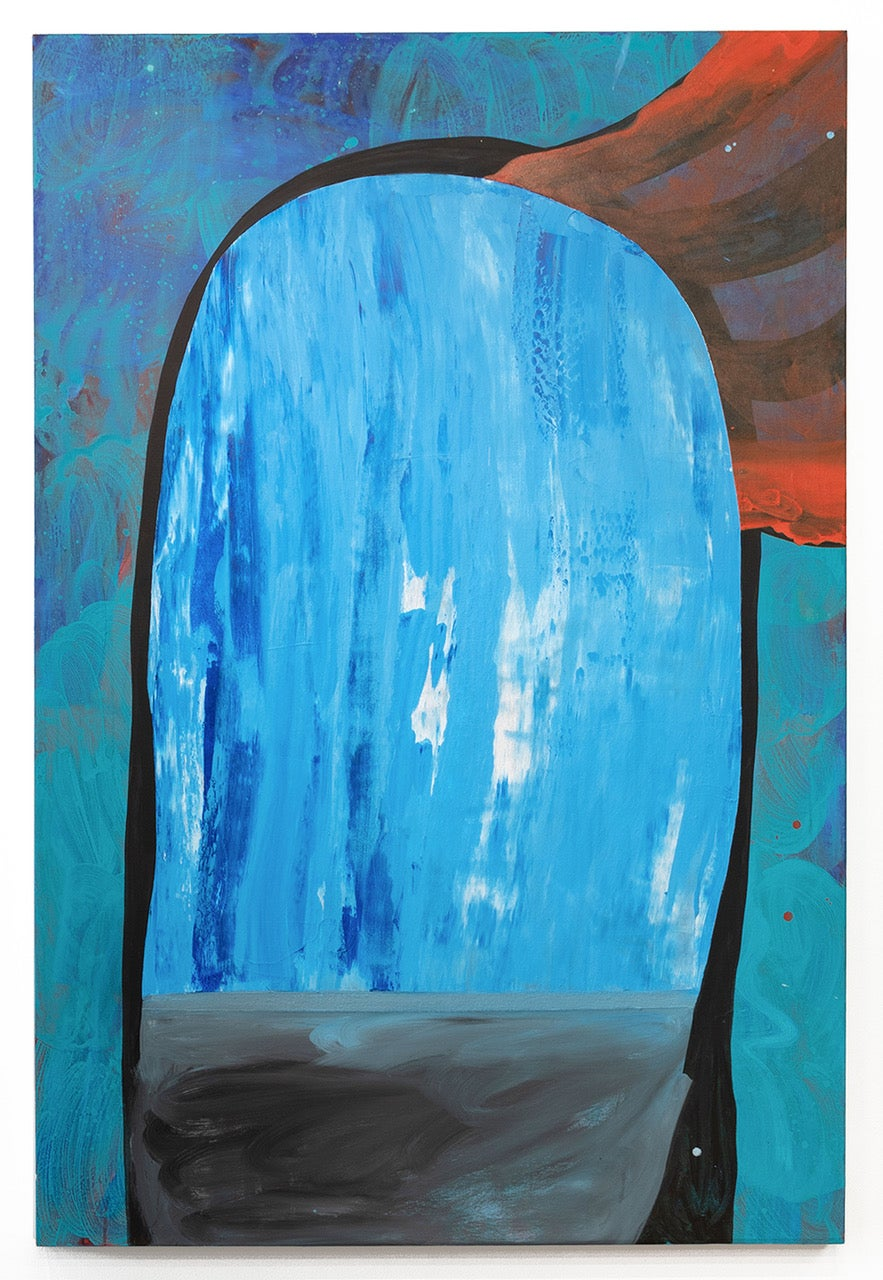 """""""WATERFALL MOUTH"""", Abstract Painting, Acrylic and Collage on Canvas, Blue, Red"""