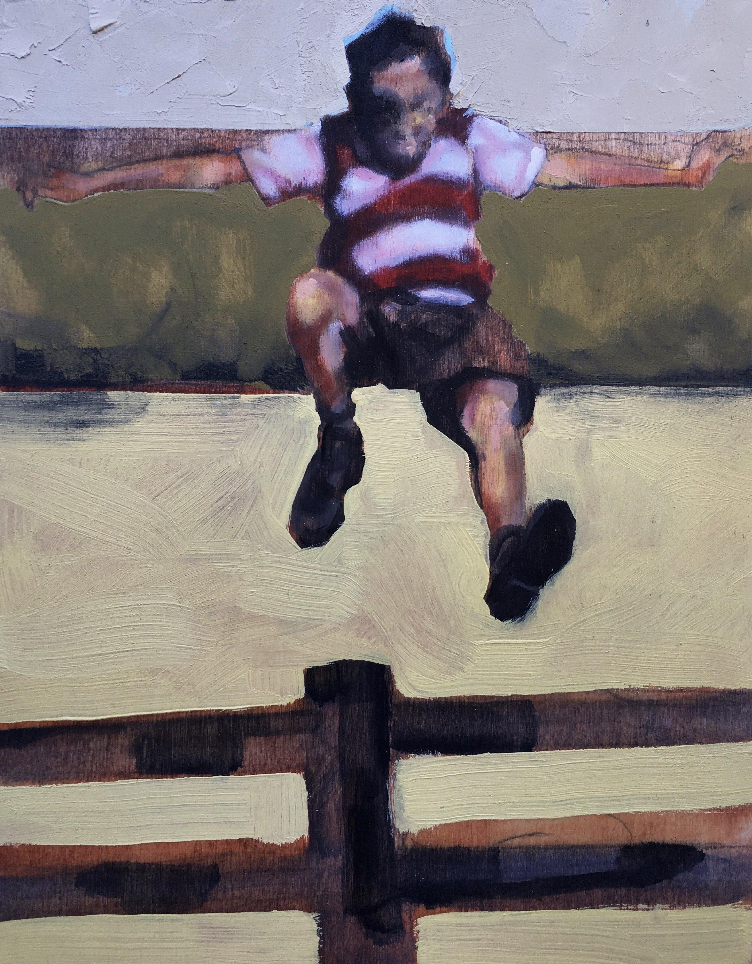 """""""Fence Jumper"""", oil painting, figurative, boy, flight, field, outside, summer"""