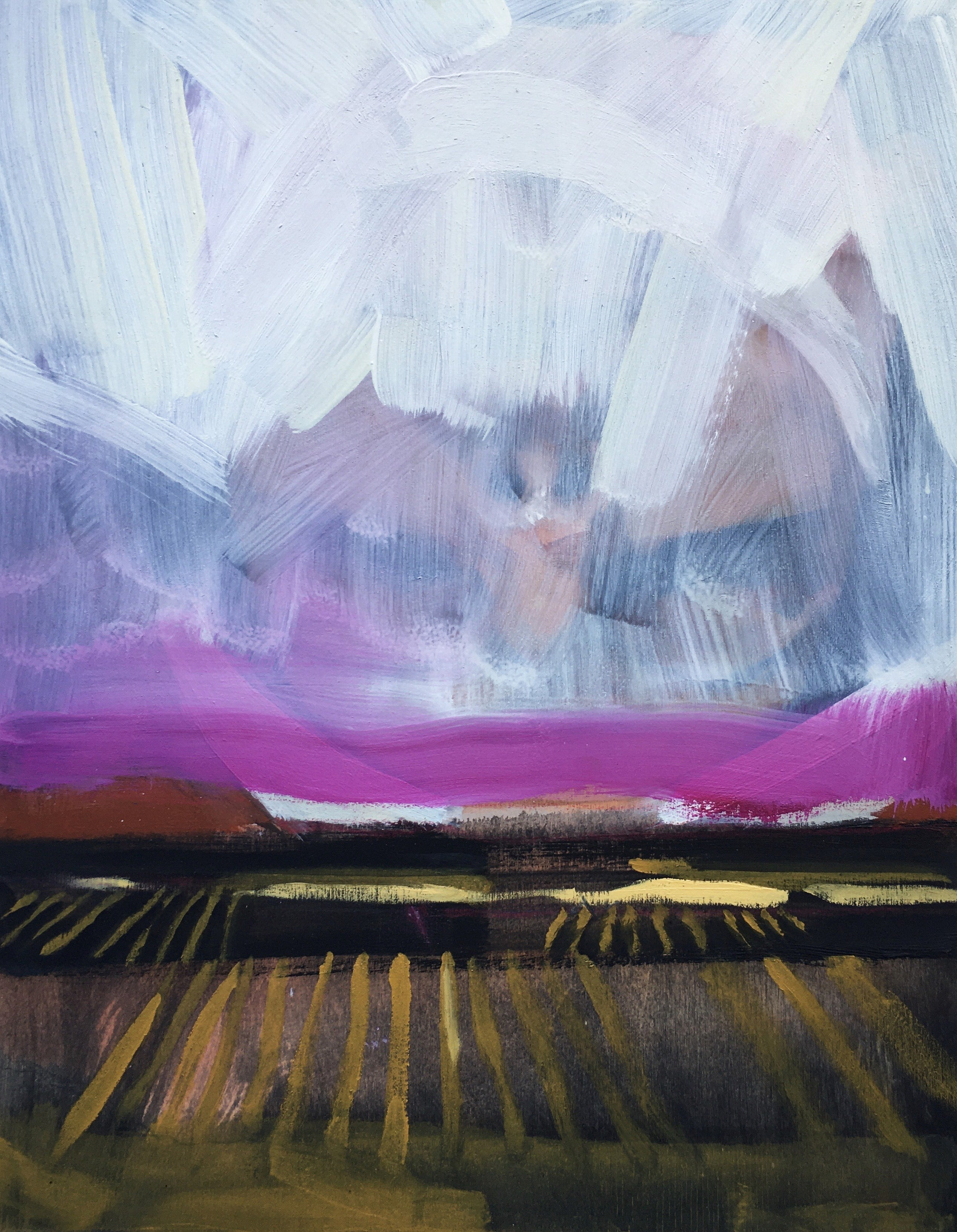"""""""Burning Kiln Winery"""", oil painting, landscape, fields, vines, terrain, sky"""