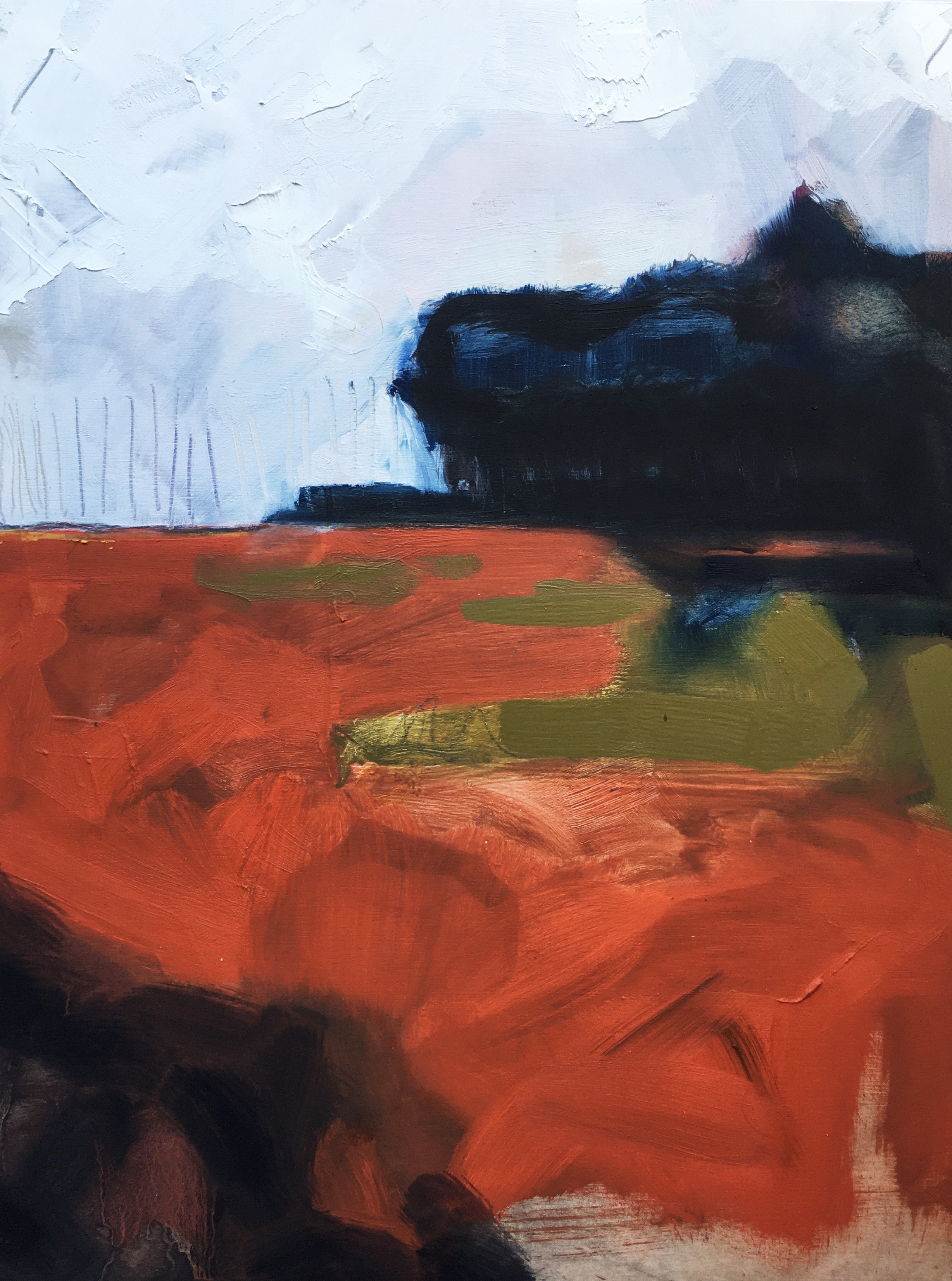 """""""Copse"""", oil painting, landscape, abstract, trees, field, sky, light, copper"""