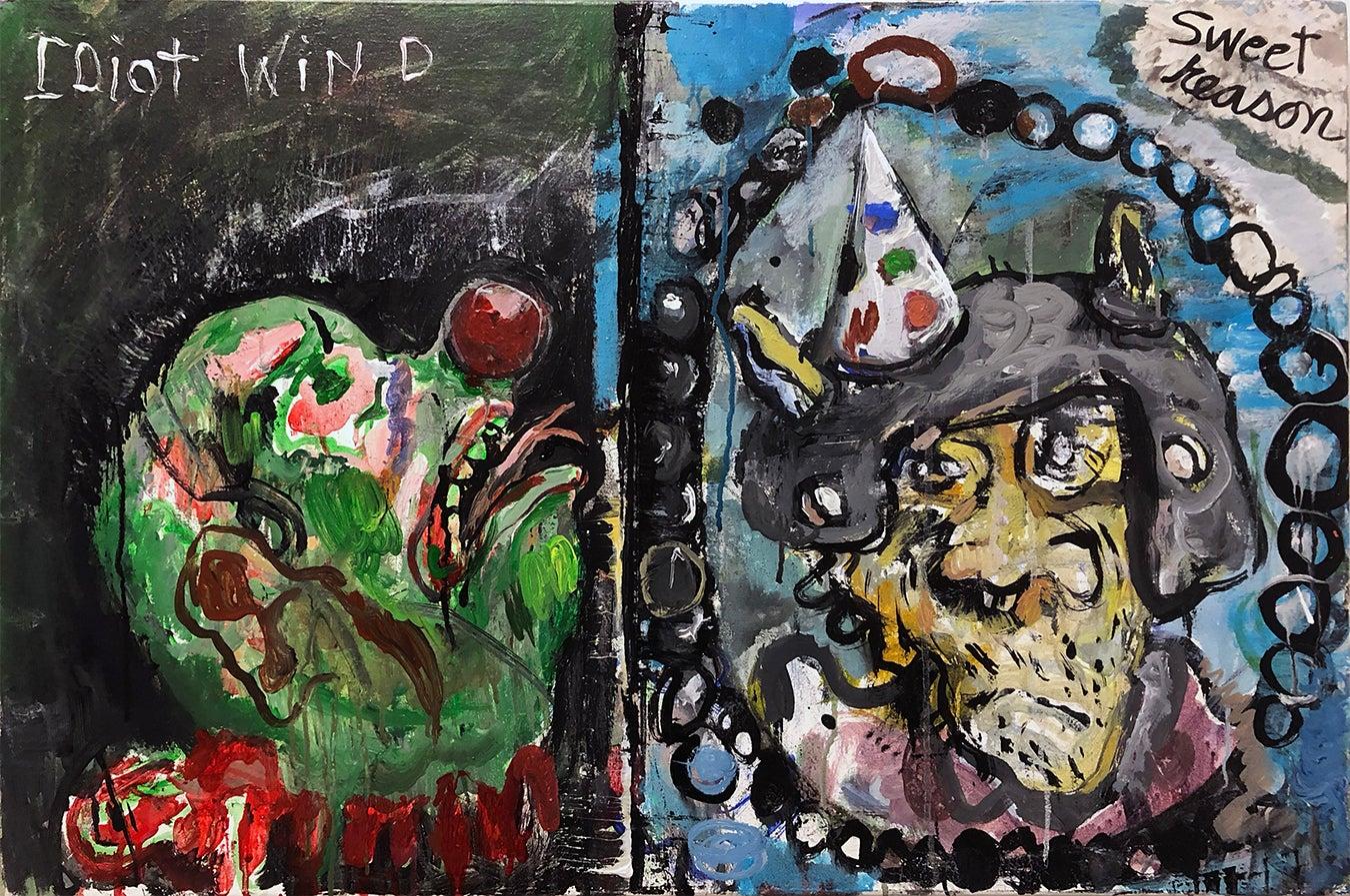 """Idiot Wind, Sweet Reason"", acrylic painting, duality, politics, humanity"