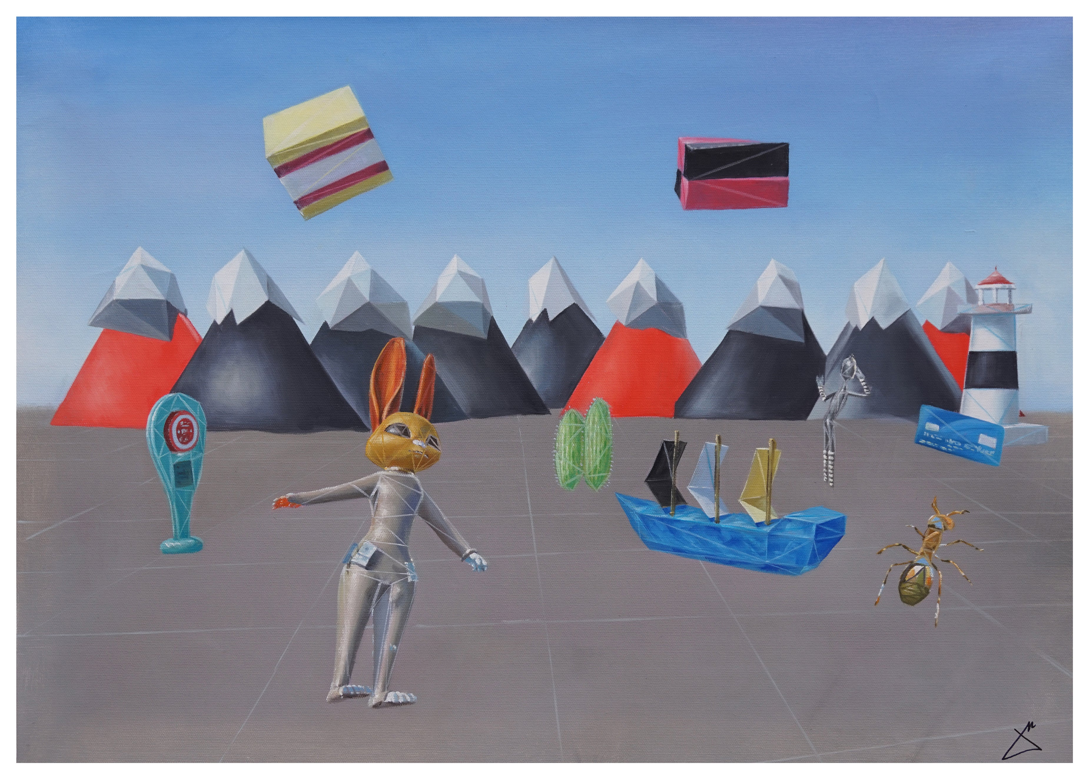 """""""Lost in Virtual Reality"""" 2017 Painting Oil on Cotton Cartoon Rabbit Mountains"""