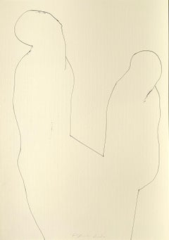 Large Original line drawing 'Weekdays Wrapped Up' Ink on paper Abstract Figure