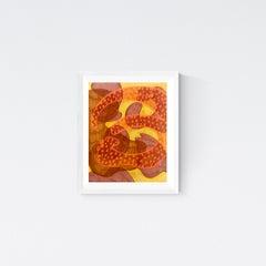 "Original Drawing 'Permeating"" Contemporary Orange Yellow Purple 11 x 14 in."