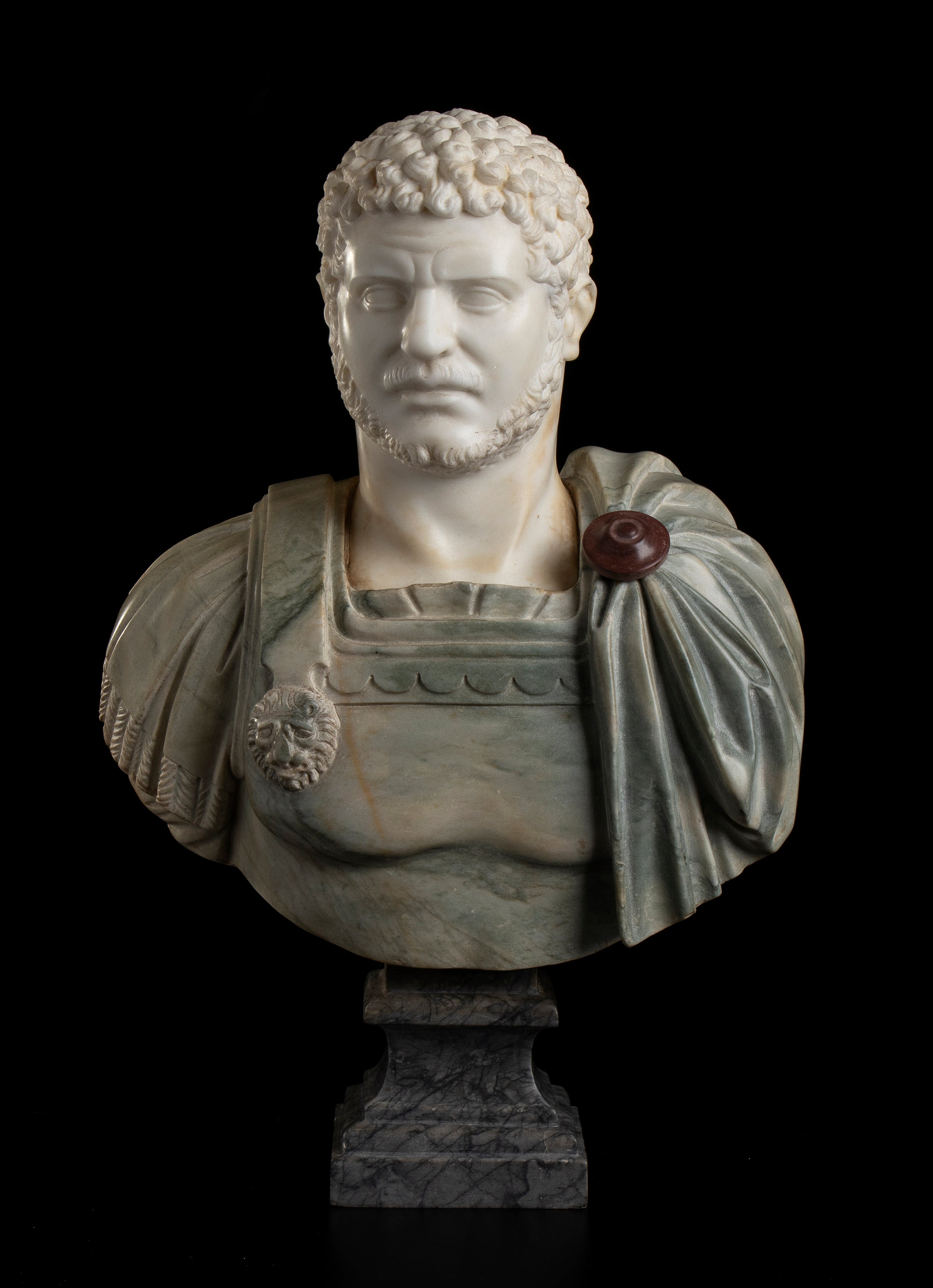 Sculpture Bust Roman Emperor White and Green Marble After the Antique Grand Tour