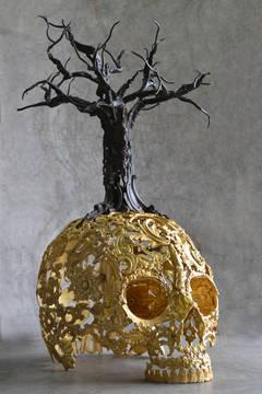 Monsancto - Bronze Skull Sculpture