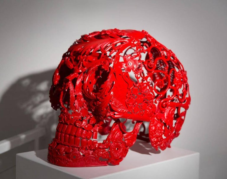 Turned Red - Bronze Skull Sculpture 1
