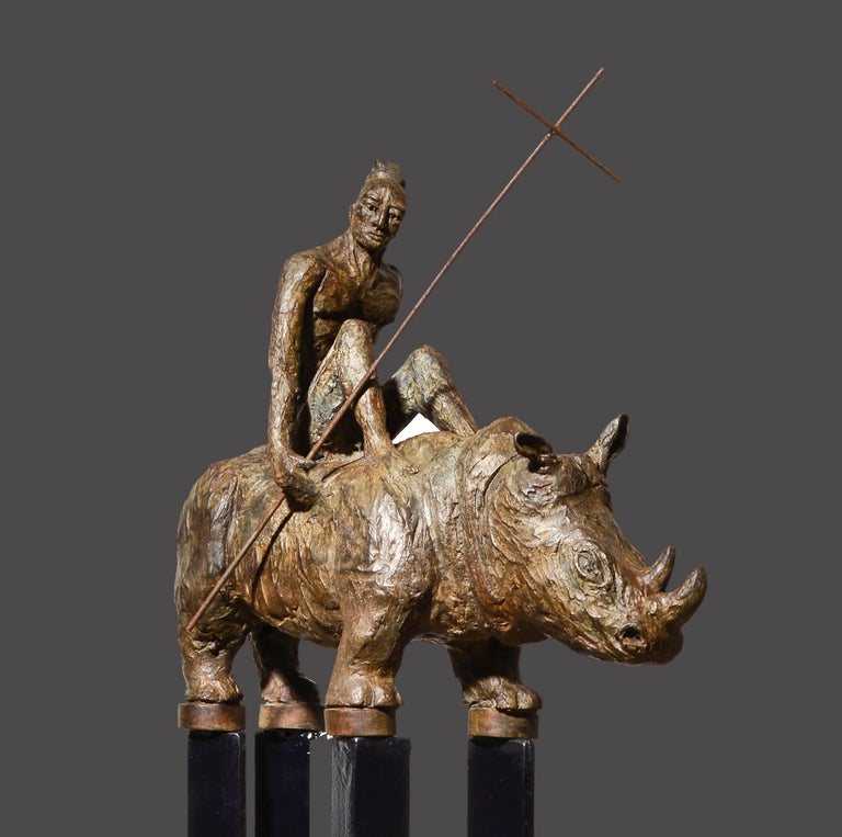 The ultimate ride of the Christians Samurais riding their rhinoceroses. Historical work by the sculptor Mariko about the troubled period of the 17th. Century where the Christians were persecuted in Japan. This period of time inspired the director of
