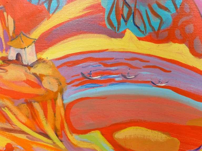 Passage - Orange Landscape Painting by Evelyne Ballestra