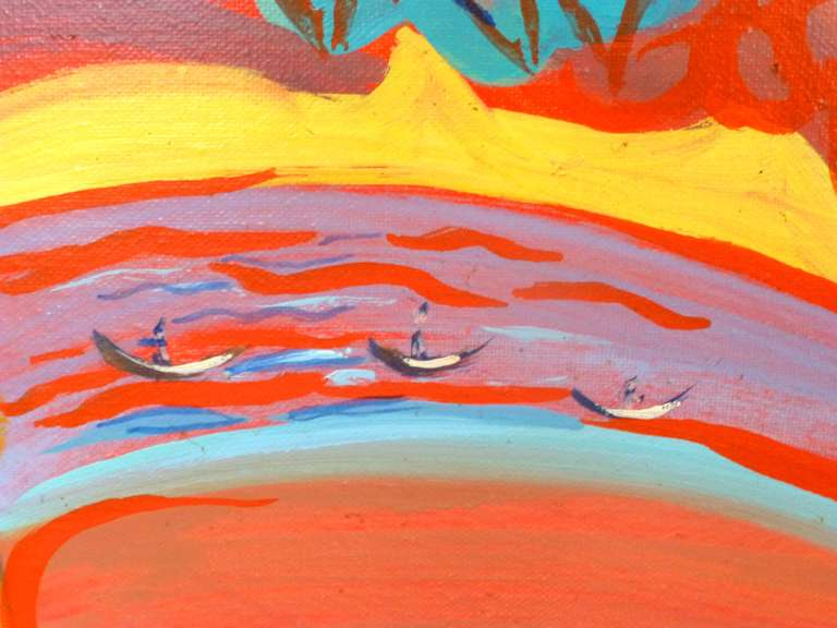 Passage is a colorful painting made by Evelyne Ballestra, a French contemporary artist. This orange tons expressionist painting is inspired from an enchanted wood, showing the nature's energies flowing in the trees with bright colors.  Ballestra