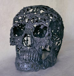 Light Black - Bronze Skull Sculpture