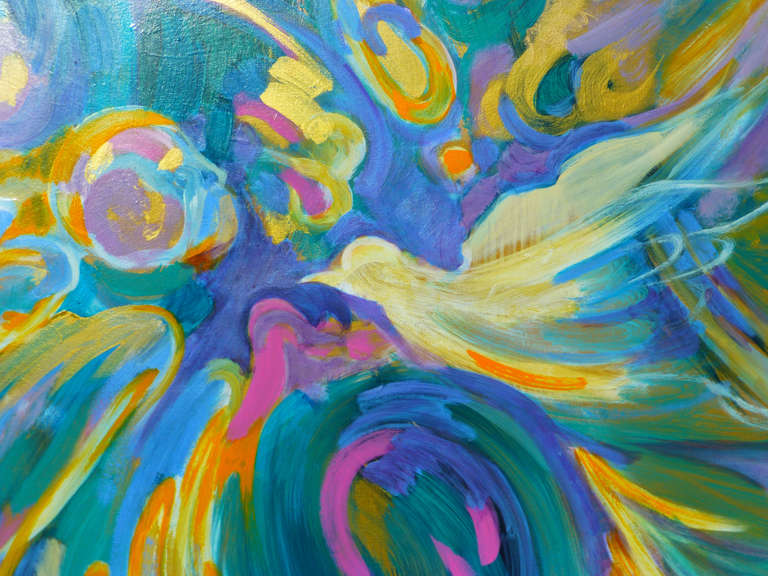 Peace dove - Contemporary Painting by Evelyne BALLESTRA